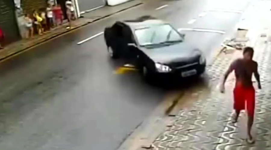 Incredible near-death experience as unwitting pedestrian avoids runaway car …