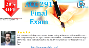 ACC 291 Final Exam Part 1, 2, 3, 4, 5 and 6