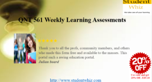 Week 4 learning team assignment for QNT 561
