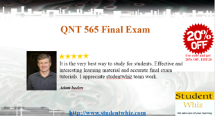 QNT 565 Final Exam | 2016, 2015 | 30 Questions and Answers