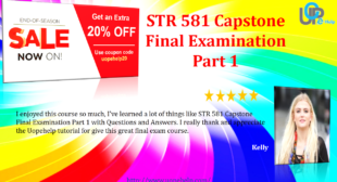 STR 581 Capstone Final Examination Part 1 UOP Answers