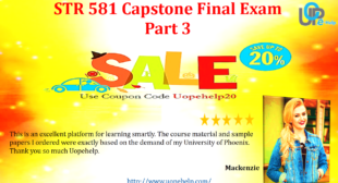 STR 581 Capstone Final Exam Part 3 Questions and Answers